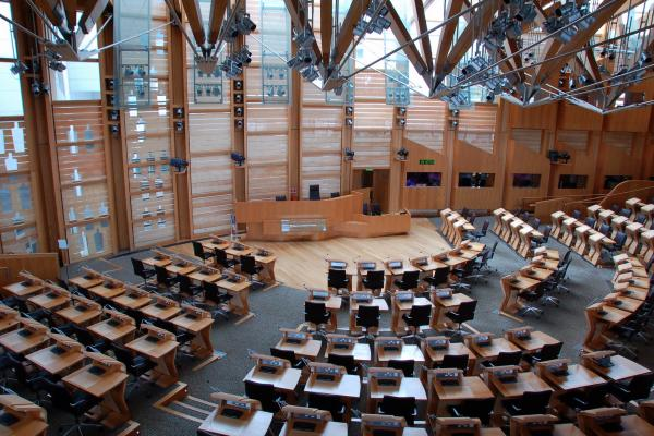 Image of the debating chamber of the Scottish Parliament