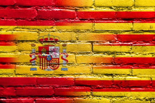 Catalan & Spanish flags on a wall