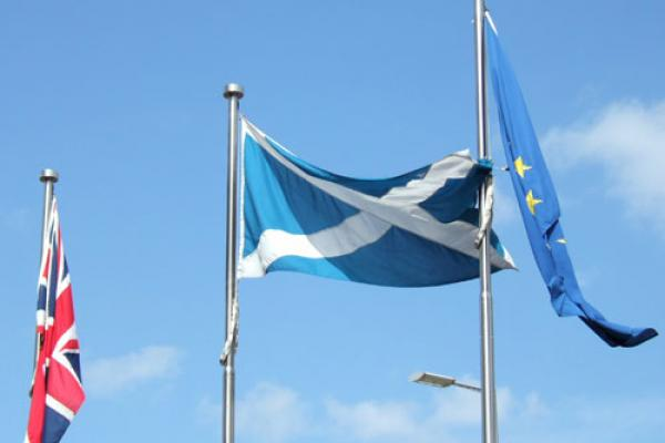 EU, UK & Scotland Flags